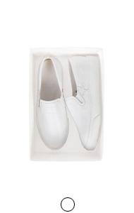 白色皮革拼凑slipon