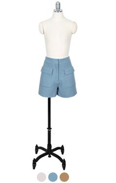 手工羊毛短裤口袋