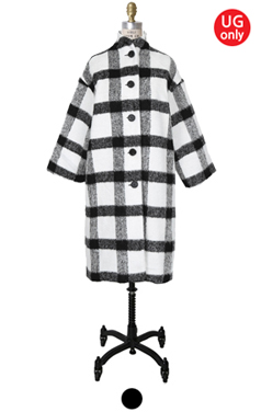 "UTG BUTTONY PLAID <br> COCOON COAT <br> <font color=#82C7E4 size=""1.9"" face=verdana>类型添加</font>"