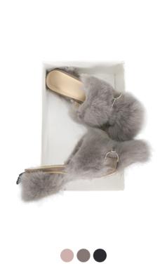 兔毛脚跟拖鞋