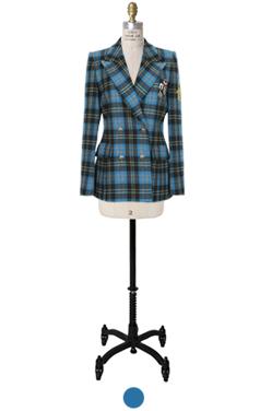 蓝色苏格兰检查毫外套