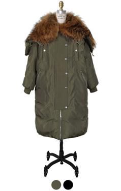 貉子毛点缀MA-1皮制大衣