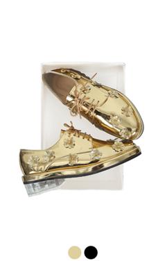 花点缀透明鞋跟牛津布
