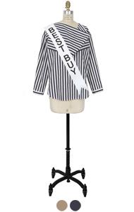 折纸颈部条纹衬衫<br> (2色)