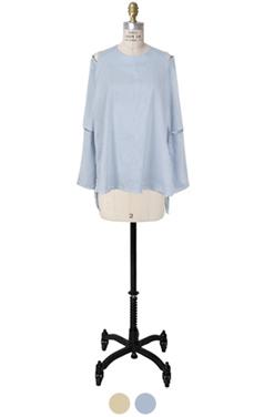 狭缝袖条纹上衣