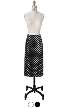波尔卡圆点铅笔裙