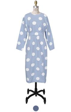 圆点+条纹图案连衣裙