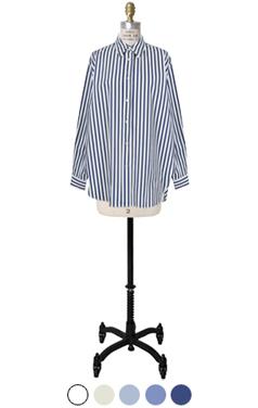 清爽棉条纹衬衫