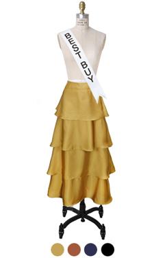 缎面分层长裙