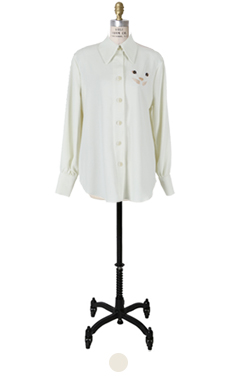小猫embroidary衬衫