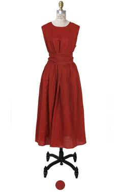 乐脉束带亚麻连衣裙