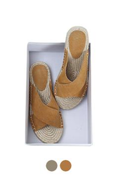 交叉系带麂皮帆布便鞋
