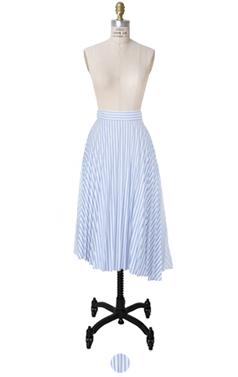 混合条纹百褶裙